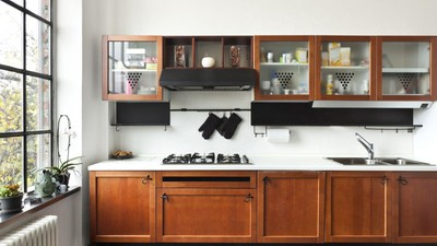 Long Wooden Counter And White Countertop Under Floating Cabinet Refacing Cost On White Wall